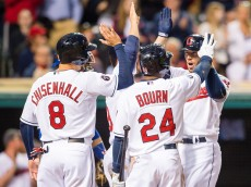 CLEVELAND, OH -  MAY 1: Lonnie Chisenhall #8 Ryan Raburn #9 and Michael Bourn #24 celebrate with Brett Hayes #12 of the Cleveland Indians after Hayes hit a three run home run during the fifth inning against the Toronto Blue Jays at Progressive Field on May 1, 2015 in Cleveland, Ohio.   (Photo by Jason Miller/Getty Images)