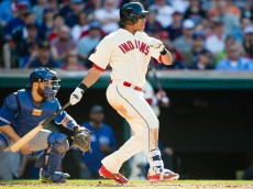 CLEVELAND, OH -  MAY 2: Michael Brantley #23 of the Cleveland Indians hits an RBI single during the third inning against the Toronto Blue Jays at Progressive Field on May 2, 2015 in Cleveland, Ohio.  (Photo by Jason Miller/Getty Images)  *** Local Caption *** Michael Brantley