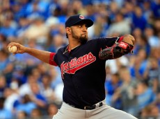 KANSAS CITY, MO - MAY 05:  Starting pitcher Danny Salazar #31 of the Cleveland Indians pitches during the first inning of the game against the Kansas City Royals at Kauffman Stadium on May 5, 2015 in Kansas City, Missouri.  (Photo by Jamie Squire/Getty Images)
