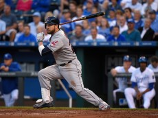 KANSAS CITY, MO - MAY 6:  Jason Kipnis #22 of the Cleveland Indians singles in the second inning during a game against the Kansas City Royals at Kauffman Stadium on May 6, 2015 in Kansas City, Missouri. (Photo by Ed Zurga/Getty Images)