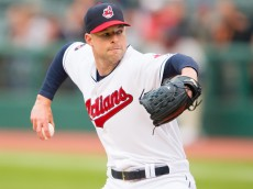 CLEVELAND, OH -  MAY 13: Starting pitcher Corey Kluber #28 of the Cleveland Indians pitches during the first inning against the St. Louis Cardinals at Progressive Field on May 13, 2015 in Cleveland, Ohio. (Photo by Jason Miller/Getty Images)  *** Local Caption *** Corey Kluber