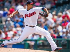 CLEVELAND, OH -  MAY 27: Starting pitcher Carlos Carrasco #59 of the Cleveland Indians pitches during the first inning against the Texas Rangers at Progressive Field on May 27, 2015 in Cleveland, Ohio. (Photo by Jason Miller/Getty Images)