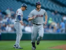 SEATTLE, WA - MAY 28:  Brandon Moss #44 of the Cleveland Indians rounds the bases after hitting a home run against the Seattle Mariners in the second inning at Safeco Field on May 28, 2015 in Seattle, Washington.  (Photo by Otto Greule Jr/Getty Images)