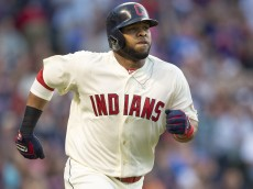 CLEVELAND, OH - JUNE 21: Carlos Santana #41 of the Cleveland Indians rounds the bases after hitting a solo home run during the fourth inning against the Detroit Tigers at Progressive Field on June 21, 2014 in Cleveland, Ohio.  (Photo by Jason Miller/Getty Images)