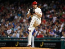 CLEVELAND, OH - AUGUST 02:  Scott Atchison #48 of the Cleveland Indians pitches against the Texas Rangers during the seventh inning of their game on August 2, 2014 at Progressive Field in Cleveland, Ohio.  The Indians defeated the Rangers 2-0.  (Photo by David Maxwell/Getty Images)