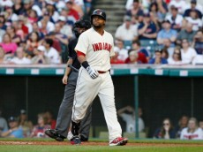 CLEVELAND, OH - AUGUST 23:  Carlos Santana #41 of the Cleveland Indians reacts after striking out against the Houston Astros during the first inning of their game on August 23, 2014 at Progressive Field in Cleveland, Ohio.The Indians defeated the Astros 3-2.  (Photo by David Maxwell/Getty Images)
