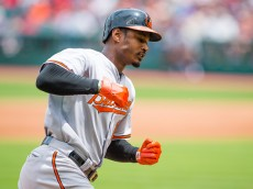 CLEVELAND, OH -  JUNE 7: Adam Jones #10 of the Baltimore Orioles rounds the bases after hitting a solo home run during the first inning against the Cleveland Indians at Progressive Field on June 7, 2015 in Cleveland, Ohio. (Photo by Jason Miller/Getty Images)  *** Local Caption *** Adam Jones