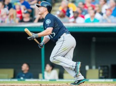 CLEVELAND, OH -  JUNE 10: Kyle Seager #15 of the Seattle Mariners reacts after hitting a grand slam during the third inning against starting pitcher Trevor Bauer #47 of the Cleveland Indians at Progressive Field on June 10, 2015 in Cleveland, Ohio.(Photo by Jason Miller/Getty Images)