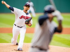 CLEVELAND, OH -  JUNE 19: Starting pitcher Carlos Carrasco #59 of the Cleveland Indians pitches to Joey Butler #9 of the Tampa Bay Rays during the first inning against the Tampa Bay Rays at Progressive Field on June 19, 2015 in Cleveland, Ohio.  (Photo by Jason Miller/Getty Images)