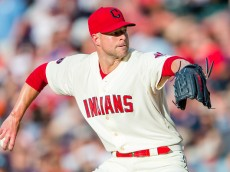 CLEVELAND, OH -  JUNE 20: Starting pitcher Corey Kluber #28 of the Cleveland Indians pitches during the first inning against the Tampa Bay Rays at Progressive Field on June 20, 2015 in Cleveland, Ohio.  (Photo by Jason Miller/Getty Images)  *** Local Caption *** Corey Kluber