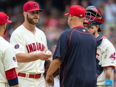 CLEVELAND, OH -  JUNE 21: Starting pitcher Cody Anderson #56 is taken out of the game by Manager Terry Francona #17 of the Cleveland Indians during the eighth inning against the Tampa Bay Rays at Progressive Field on June 21, 2015 in Cleveland, Ohio.  (Photo by Jason Miller/Getty Images)  *** Local Caption *** Cody Anderson; Terry Francona