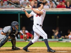 CLEVELAND, OH -  JUNE 22: David Murphy #7 of the Cleveland Indians hits a solo home run during the eighth inning against the Detroit Tigers at Progressive Field on June 22, 2015 in Cleveland, Ohio. (Photo by Jason Miller/Getty Images)