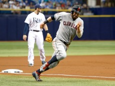 ST. PETERSBURG, FL - JUNE 29:  Jason Kipnis #22 of the Cleveland Indians rounds third base on his way to score from second base on an RBI single off the bat of Michael Brantley in the first inning of a game against the Tampa Bay Rays on June 29, 2015 at Tropicana Field in St. Petersburg, Florida.  (Photo by Brian Blanco/Getty Images)