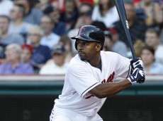 CLEVELAND, OH - AUGUST 23: Michael Bourn #24 of the Cleveland Indians bats against the Minnesota Twins during the first inning of their game on August 23, 2013 at Progressive Field in Cleveland, Ohio. The Twins defeated the Indians 5-1. (Photo by David Maxwell/Getty Images)