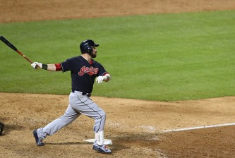ARLINGTON, TX - MAY 16:  Jason Kipnis #22 of the Cleveland Indians hits a two-run homerun in the ninth inning against the Texas Rangers at Globe Life Park in Arlington on May 16, 2015 in Arlington, Texas.  (Photo by Ronald Martinez/Getty Images)