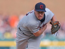 DETROIT, MI - JUNE 13: Bryan Shaw #27 of the Cleveland Indians pitches in the seventh inning of the game against the Detroit Tigers on June 13, 2015 at Comerica Park in Detroit, Michigan. (Photo by Leon Halip/Getty Images)