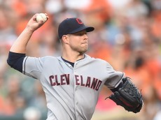 BALTIMORE, MD - JUNE 26:  Corey Kluber #28 of the Cleveland Indians pitches in the second inning during a baseball game against the Baltimore Orioles at Oriole Park at Camden Yards on June 26, 2015 in Baltimore, Maryland.  (Photo by Mitchell Layton/Getty Images)