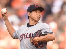 BALTIMORE, MD - JUNE 28: Toru Murata #61 of the Cleveland Indians pitches in his major league debut in the first inning during game two of a baseball game against the Baltimore Orioles at Oriole Park at Camden Yards on June 28, 2015 in Baltimore, Maryland. (Photo by Mitchell Layton/Getty Images)
