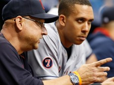 ST. PETERSBURG, FL - JUNE 29:  Manager Terry Francona #17 of the Cleveland Indians talks with Michael Brantley #23 in the dugout before the start of a game against the Tampa Bay Rays on June 29, 2015 at Tropicana Field in St. Petersburg, Florida.  (Photo by Brian Blanco/Getty Images)