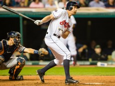CLEVELAND, OH -  JULY 8: David Murphy #7 of the Cleveland Indians hits a two RBI double to right during the eighth inning against the Houston Astros at Progressive Field on July 8, 2015 in Cleveland, Ohio. (Photo by Jason Miller/Getty Images)
