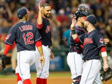 CLEVELAND, OH -  JULY 10: Francisco Lindor #12 starting pitcher Danny Salazar #31 Yan Gomes #10 and Jason Kipnis #22 of the Cleveland Indians celebrate after the Indians defeated the Oakland Athletics 5-1 at Progressive Field on July 10, 2015 in Cleveland, Ohio. (Photo by Jason Miller/Getty Images)