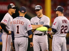 during the 86th MLB All-Star Game at the Great American Ball Park on July 14, 2015 in Cincinnati, Ohio.