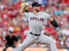 CINCINNATI, OH - JULY 18:  Corey Kluber #28 of the Cleveland Indians throws a pitch during the second inning of the game against the Cincinnati Reds at Great American Ball Park on July 18, 2015 in Cincinnati, Ohio. (Photo by Kirk Irwin/Getty Images)