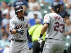 MILWAUKEE, WI - JULY 22: Francisco Lindor #12 of the Cleveland Indians celebrates with Michael Brantley #23 after hitting a solo home run in the first inning against the Milwaukee Brewers during the Interleague game at Miller Park on July 22, 2015 in Milwaukee, Wisconsin. (Photo by Mike McGinnis/Getty Images)