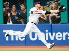 CLEVELAND, OH -  JULY 28: Right fielder Brandon Moss #44 of the Cleveland Indians catches a fly ball hit by Omar Infante #14 of the Kansas City Royals during the third inning at Progressive Field on July 28, 2015 in Cleveland, Ohio. (Photo by Jason Miller/Getty Images)  *** Local Caption *** Brandon Moss