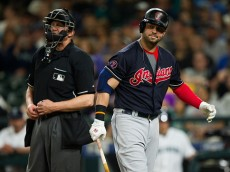 SEATTLE, WA - MAY 30:  Nick Swisher #33 of the Cleveland Indians reacts after getting called out on strikes by home plate umpire Jeff Kellogg during MLB baseball action against the Seattle Mariners at Safeco Field on May 30, 2015 in Seattle, Washington.  (Photo by Rich Lam/Getty Images)