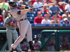 PHILADELPHIA, PA - AUGUST 2: Chris Johnson #23 of the Atlanta Braves hits an RBI single in the top of the fifth inning against the Philadelphia Phillies on August 2, 2015 at the Citizens Bank Park in Philadelphia, Pennsylvania.  The Braves defeated the Phillies 6-2. (Photo by Mitchell Leff/Getty Images)