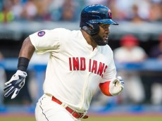 CLEVELAND, OH - AUGUST 8: Abraham Almonte #35 of the Cleveland Indians runs out a double during the third inning against the Minnesota Twins at Progressive Field on August 8, 2015 in Cleveland, Ohio. The Twins defeated the Indians 10-9. (Photo by Jason Miller/Getty Images)