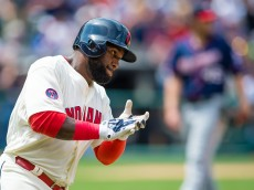 CLEVELAND, OH - AUGUST 9: Abraham Almonte #35 of the Cleveland Indians reacts after hitting a two run home run against starting pitcher Phil Hughes #45 of the Minnesota Twins during the third inning at Progressive Field on August 9, 2015 in Cleveland, Ohio. (Photo by Jason Miller/Getty Images)