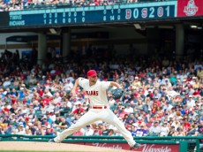 CLEVELAND, OH - AUGUST 9: Starting pitcher Corey Kluber #28 of the Cleveland Indians pitches during the eighth inning against the Minnesota Twins at Progressive Field on August 9, 2015 in Cleveland, Ohio. (Photo by Jason Miller/Getty Images)  *** Local Caption *** Corey Kluber