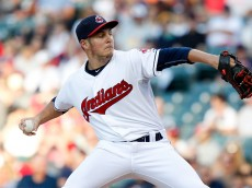 CLEVELAND, OH - AUGUST 13:  Trevor Bauer #47 of the Cleveland Indians pitches against the New York Yankees during the first inning of their game on August 13, 2015 at Progressive Field in Cleveland, Ohio.    (Photo by David Maxwell/Getty Images)