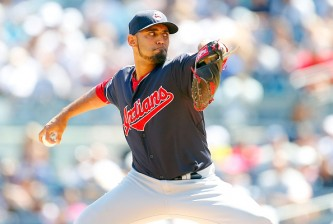 NEW YORK, NY - AUGUST 22:  Danny Salazar #31 of the Cleveland Indians pitches in the first inning against the New York Yankees at Yankee Stadium on August 22, 2015 in the Bronx borough of New York City.  (Photo by Jim McIsaac/Getty Images)