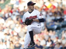 CLEVELAND, OH - AUGUST 13: Trevor Bauer #47 of the Cleveland Indians pitches against the New York Yankees during the first inning of their game on August 13, 2015 at Progressive Field in Cleveland, Ohio.  The Yankees defeated the Indians 8-6.   (Photo by David Maxwell/Getty Images)