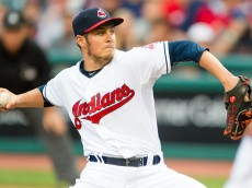 CLEVELAND, OH - AUGUST 28: Starting pitcher Trevor Bauer #47 of the Cleveland Indians pitches during the first inning against the Los Angeles Angels of Anaheim at Progressive Field on August 26, 2015 in Cleveland, Ohio. (Photo by Jason Miller/Getty Images)  *** Local Caption *** Trevor Bauer