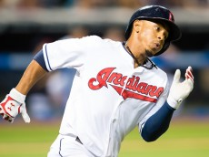 CLEVELAND, OH - AUGUST 28: Francisco Lindor #12 of the Cleveland Indians rounds the bases on a double to deep left during the sixth inning against the Los Angeles Angels of Anaheim at Progressive Field on August 26, 2015 in Cleveland, Ohio. (Photo by Jason Miller/Getty Images)