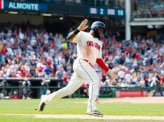 CLEVELAND, OH - AUGUST 30: Abraham Almonte #35 of the Cleveland Indians rounds the bases after hitting a grand slam during the fifth inning against the Los Angeles Angels of Anaheim at Progressive Field on August 30, 2015 in Cleveland, Ohio. (Photo by Jason Miller/Getty Images)