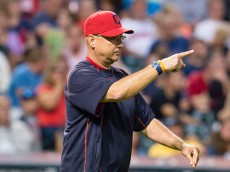 CLEVELAND, OH -  JULY 25: Manager Terry Francona #17 of the Cleveland Indians signals to the bullpen for a pitching change during the sixth inning against the Chicago White Sox at Progressive Field on July 25, 2015 in Cleveland, Ohio. (Photo by Jason Miller/Getty Images)  *** Local Caption *** Terry Francona