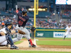 DETROIT, MI - SEPTEMBER 4: Carlos Santana #41 of the Cleveland Indians swings and makes contact in the third inning against the Detroit Tigers at Comerica Park on September 4, 2015 in Detroit, Michigan. (Photo by Dave Reginek/Getty Images)