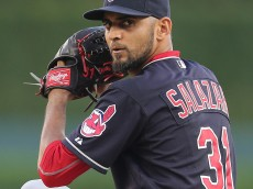 DETROIT, MI - SEPTEMBER 5: Danny Salazar #31 of the Cleveland Indians warms up prior to the start of the game against the Detroit Tigers on September 5, 2015 at Comerica Park in Detroit, Michigan. (Photo by Leon Halip/Getty Images)
