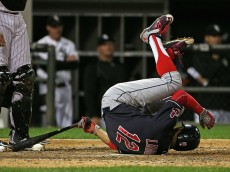 CHICAGO, IL - SEPTEMBER 09:  Francisco Lindor #12 of the Cleveland Indians hits the ground after fouling a pitch off of his leg in the 9th inning against the Chicago White Sox at U.S. Cellular Field on September 0, 2015 in Chicago, Illinois. The Indians defeated the White Sox 6-4.  (Photo by Jonathan Daniel/Getty Images)