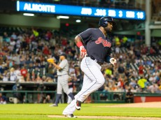 CLEVELAND, OH - SEPTEMBER 10: Abraham Almonte #35 of the Cleveland Indians rounds the bases after hitting a solo home run off starting pitcher Alfredo Simon #31 of the Detroit Tigers during the fourth inning at Progressive Field on September 10, 2015 in Cleveland, Ohio. (Photo by Jason Miller/Getty Images)