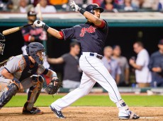 CLEVELAND, OH - SEPTEMBER 10: Michael Brantley #23 of the Cleveland Indians hits a two run home run during the eighth inning against the Detroit Tigers at Progressive Field on September 10, 2015 in Cleveland, Ohio. (Photo by Jason Miller/Getty Images)