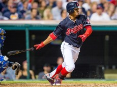 CLEVELAND, OH - SEPTEMBER 15: Francisco Lindor #12 of the Cleveland Indians hits a single during the third inning against the Kansas City Royals at Progressive Field on September 15, 2015 in Cleveland, Ohio. (Photo by Jason Miller/Getty Images)