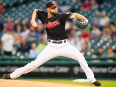CLEVELAND, OH - SEPTEMBER 28: Starting pitcher Corey Kluber #28 of the Cleveland Indians pitches during the first inning against the Minnesota Twins at Progressive Field on September 28, 2015 in Cleveland, Ohio. (Photo by Jason Miller/Getty Images)