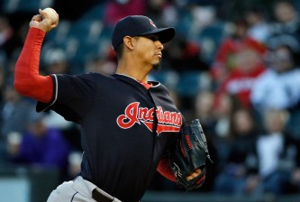 CHICAGO, IL - APRIL 21: Carlos Carrasco #59 of the Cleveland Indians pitches against the Chicago White Sox during the first inning on April 21, 2015 at U.S. Cellular Field in Chicago, Illinois. (Photo by Jon Durr/Getty Images)
