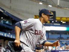ST. PETERSBURG, FL - JULY 1:  Pitcher Carlos Carrasco #59 of the Cleveland Indians heads out to the mound to start the bottom of the seventh inning of a game against the Tampa Bay Rays on July 1, 2015 at Tropicana Field in St. Petersburg, Florida.  (Photo by Brian Blanco/Getty Images)